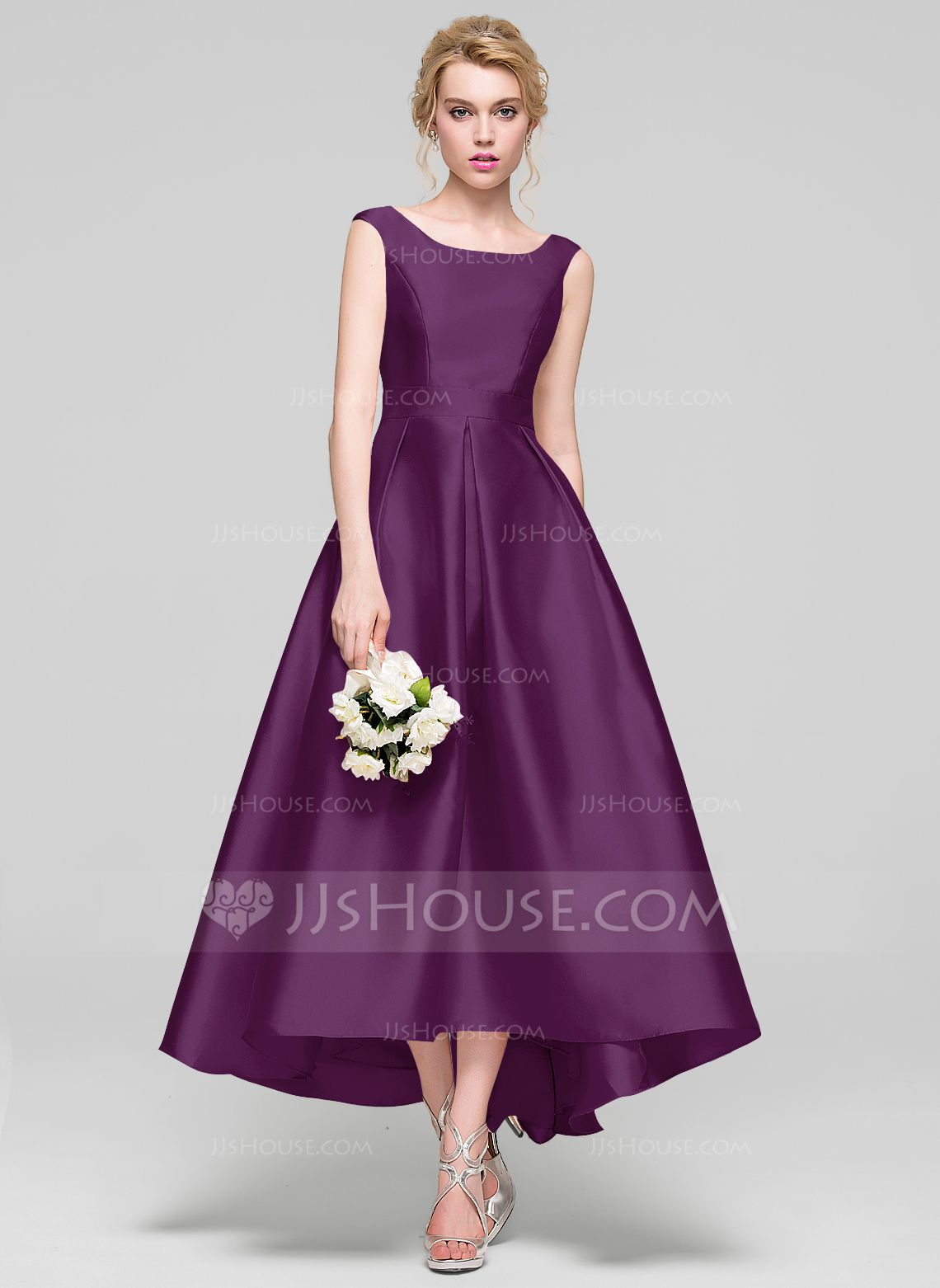 A-Line/Princess Scoop Neck Asymmetrical Satin Bridesmaid Dress ...