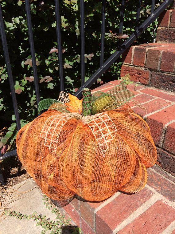Fall Pumpkin Centerpiece; Deco Mesh Pumpkin Fall
