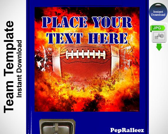 Football Gifts Grunge Fire Template for Locker Sign by PepRalleez