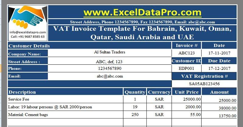 Download Vat Invoice Template For Bahrain Kuwait Oman Qatar Saudi Arabia And Uae Exceldatapro Invoice Template Kuwait Oman