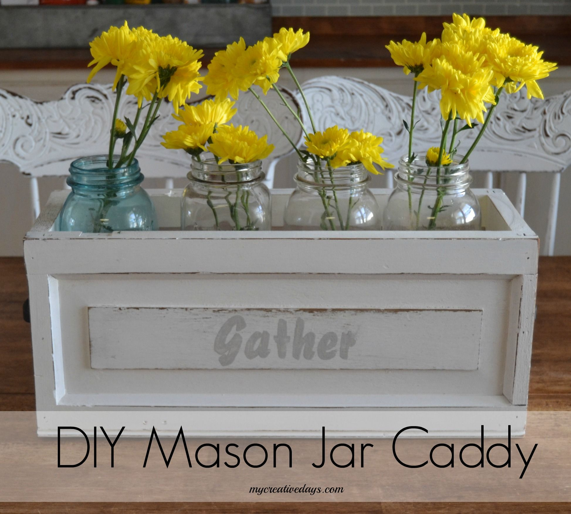 Make a DIY Mason Jar Caddy from parts of an old organ. You can also make this easy caddy from other wood pieces you have lying around. This is a great piece for your table, porch or even outside during a backyard BBQ! mycreativedays.com