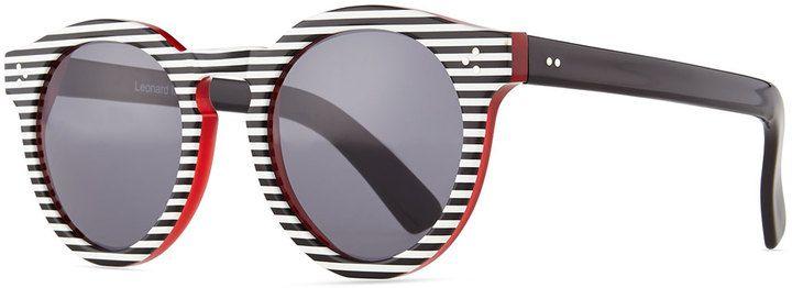 c00f0522ba05 Illesteva Leonard II Striped Sunglasses, Black/White | Sunglasses ...