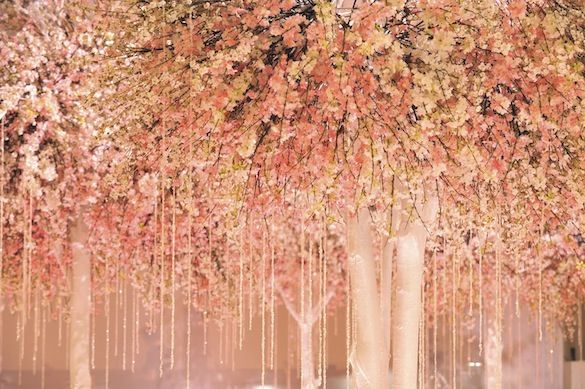 cherry blossom trees & pink strands of crystals