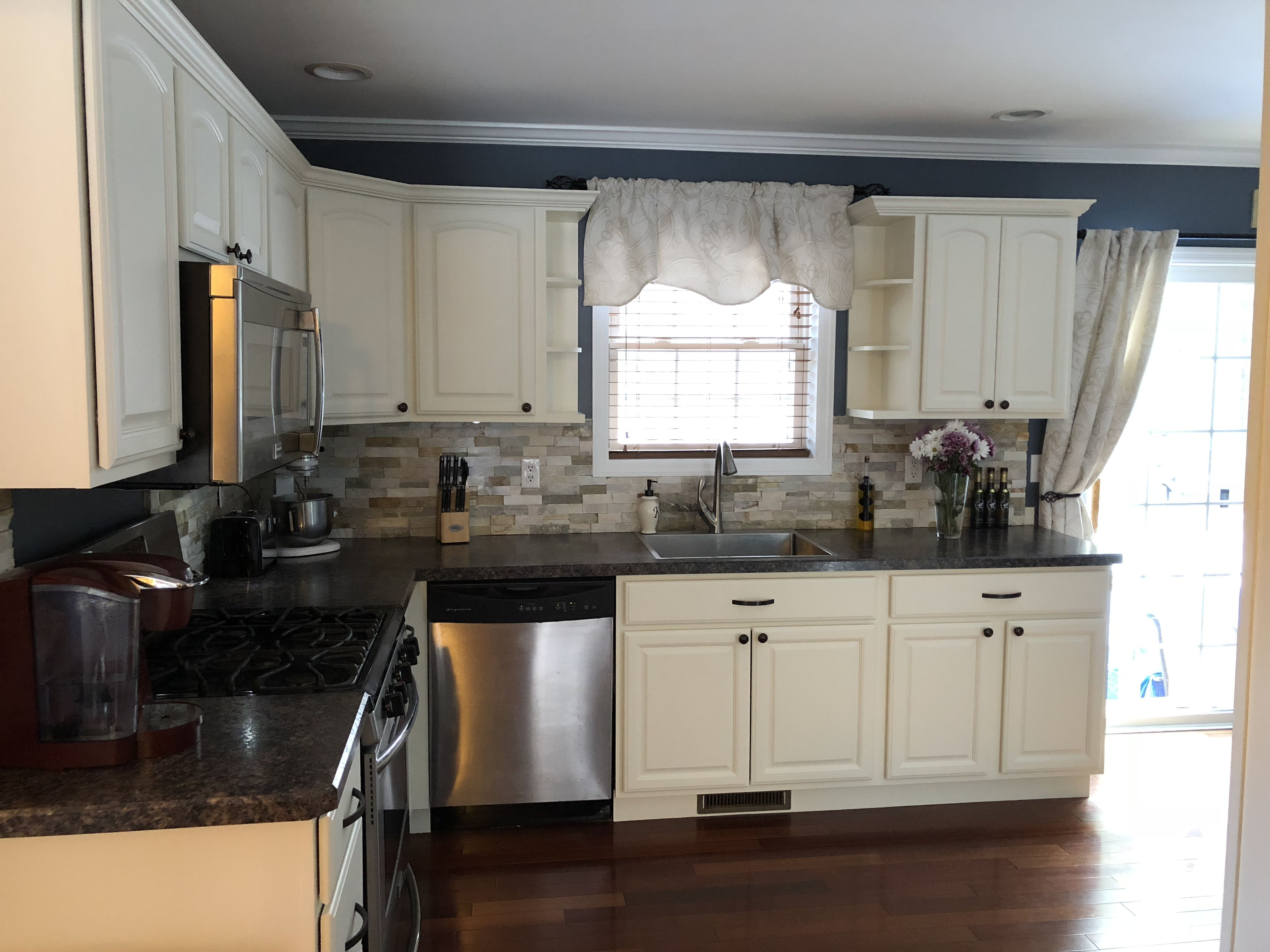 Antique white milk painted kitchen cabinet!! Done with ...