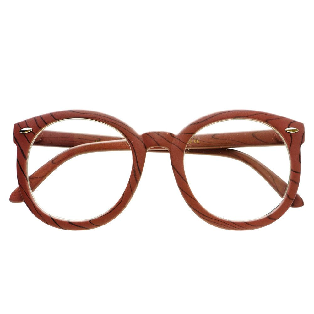 Large Oversized Clear Lens Round Wood Like Eyeglasses Frames R2300 ...