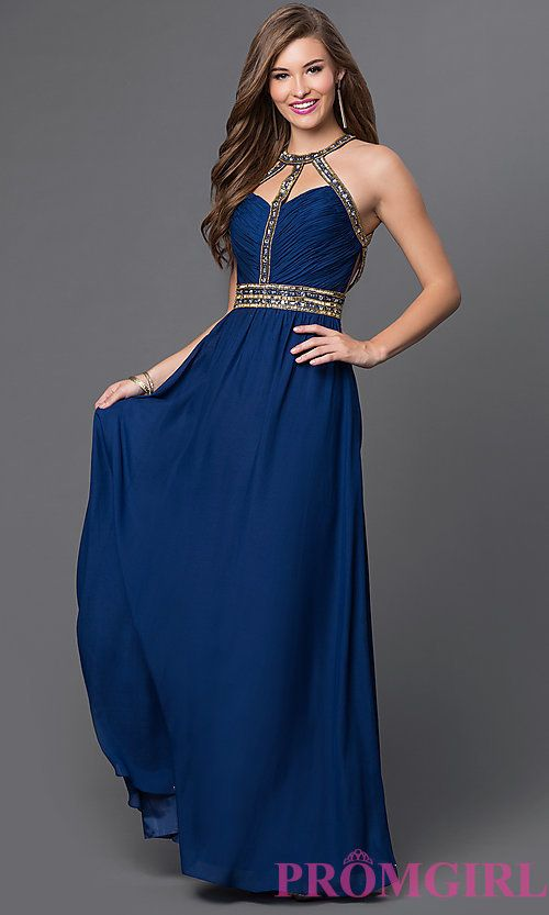 548aeeeed25b Open-Back Long Jewel-Detailed Dress with Cut-Outs | PROM | Vestidos ...