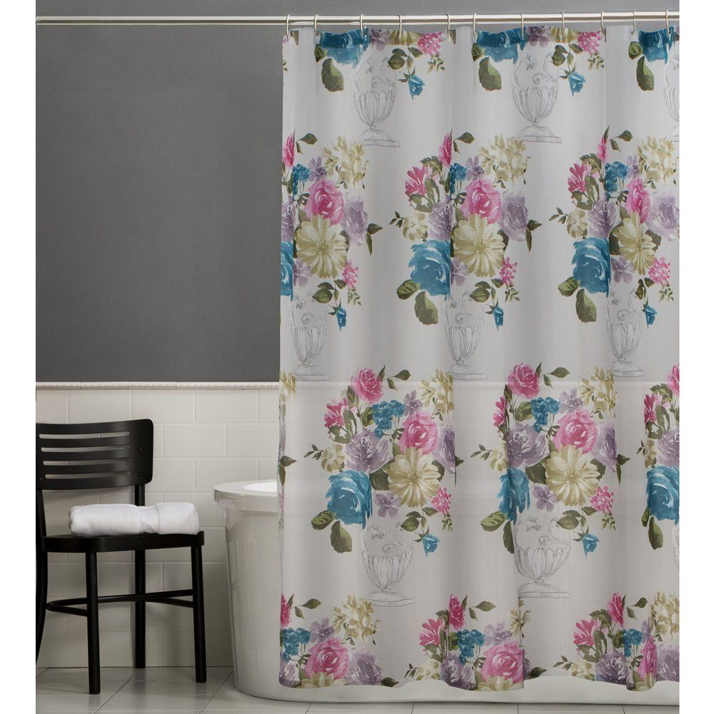 Maytex Marrivale Floral Fabric Shower Curtain Fabric Shower