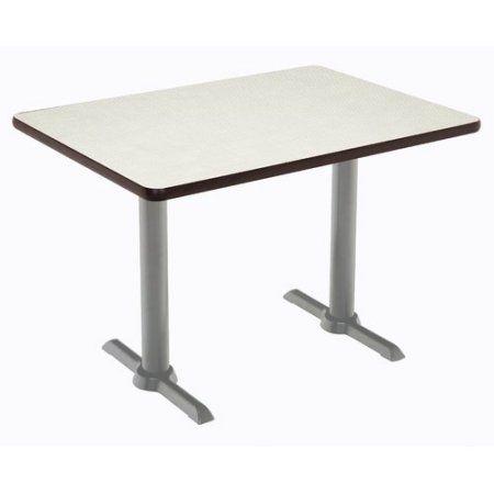 Mode 30 Inch X 48 Table Crisp Linen Silver T Leg Base