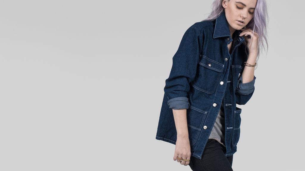 Pointer Brand Indigo Washed Denim Chore Coat - 4