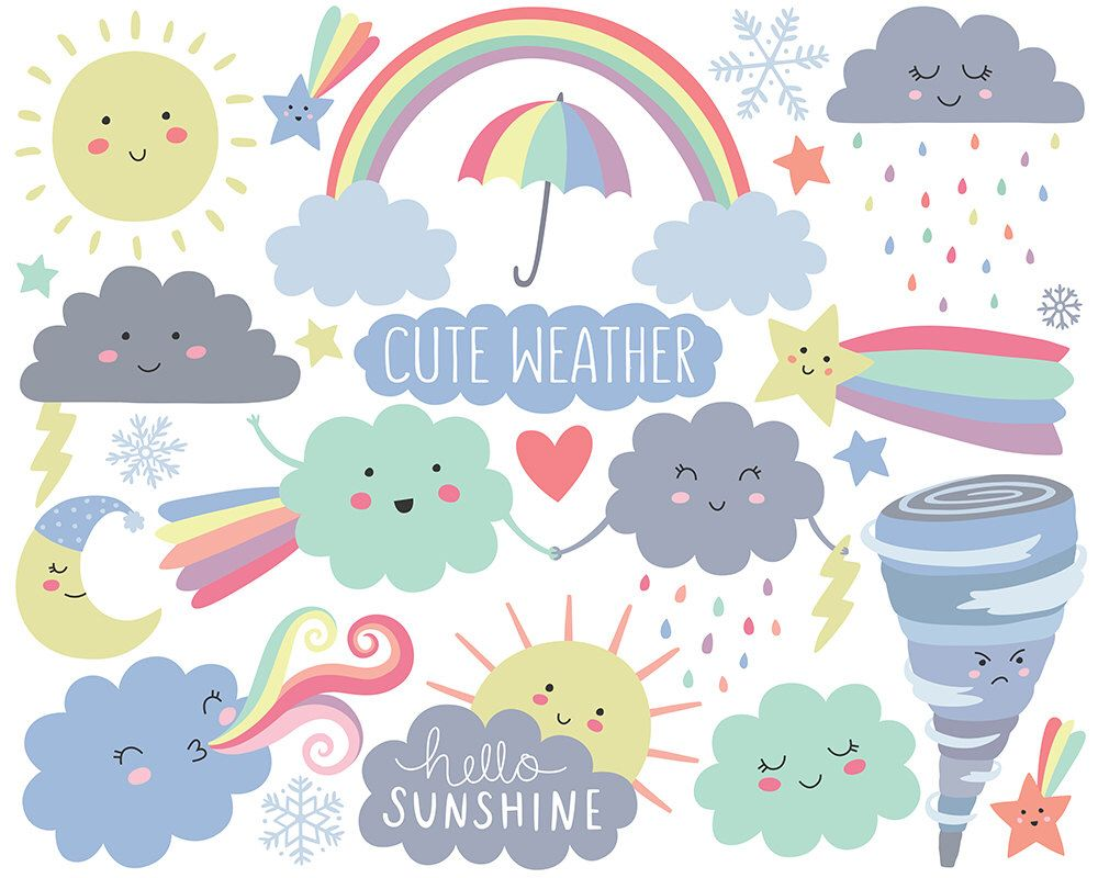 Spring adorable. Weather clipart cute cloud