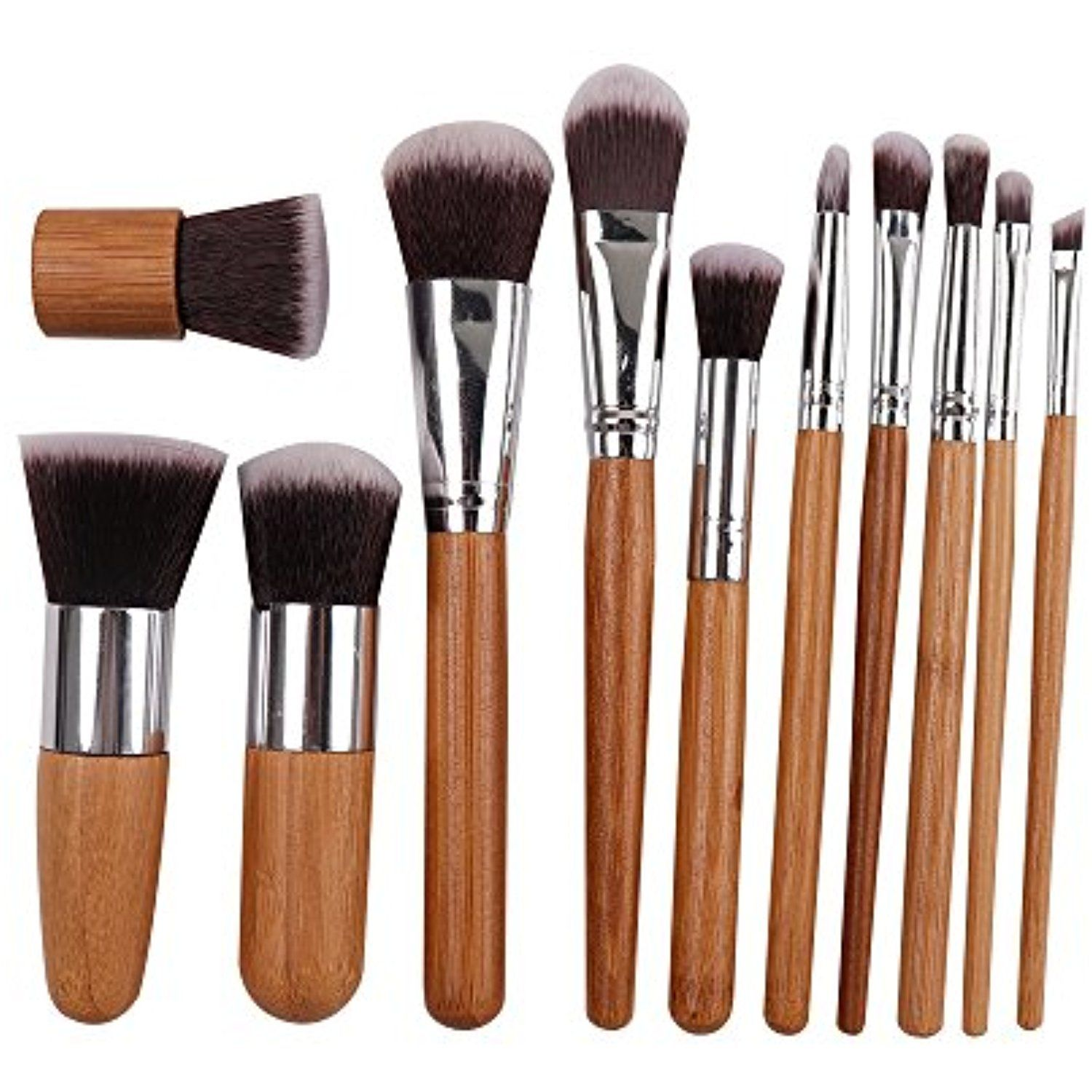 Bamboo Premium Synthetic Kabuki Makeup Brush Set,