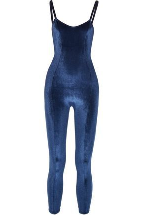 LISA MARIE FERNANDEZ WOMAN GENEVIEVE STRIPED STRETCH-JERSEY JUMPSUIT  MIDNIGHT BLUE. #lisamariefernandez #