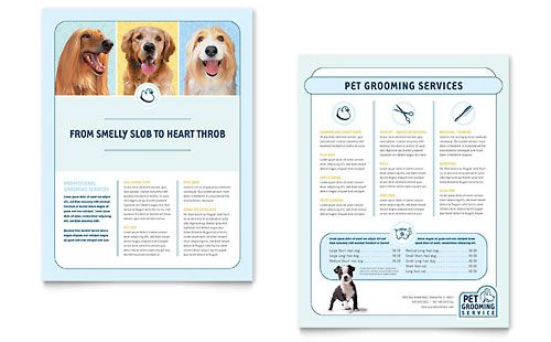 Pet Grooming Service Flyer Word Template Publisher Template