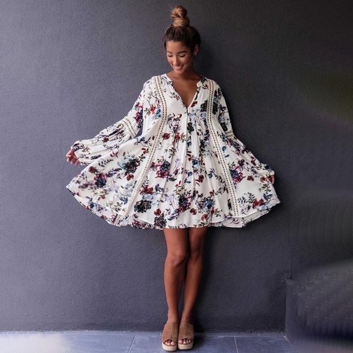 Fashion Dress Women In Hutt: Boho Summer Mini Dress- 2 Colors