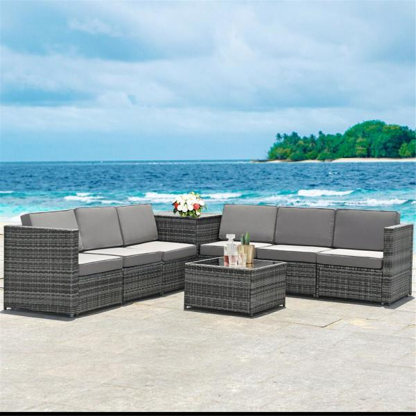 Casainc Gray 8 Piece Wicker Patio Conversation Set With Cushionguard Gray Foam Cushions And Coffee Table Wfhw62884 The Home Depot In 2020 Outdoor Patio Furniture Sets Patio Furniture Sets Outdoor Patio Furniture