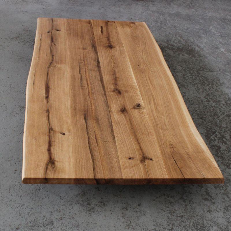 Tischplatte Eiche Massiv Rustikal Geolt Mit Baumkante 180x80 Cm Roble Roble Macizo Losas Macizas