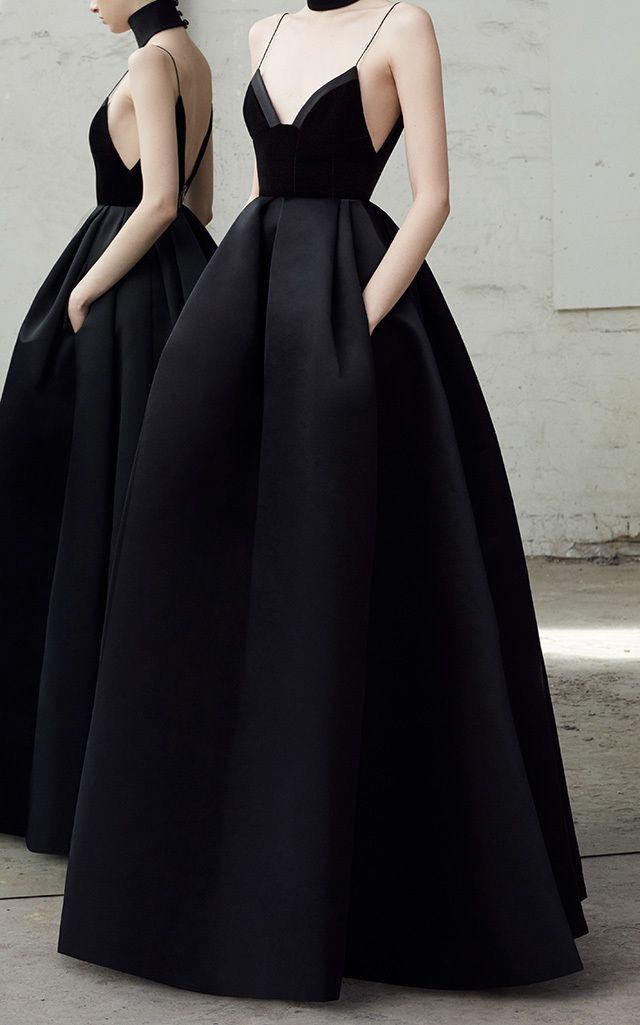 Black Satin A Sexy Ball Gown Dress Prom Couture Dresses En 2018