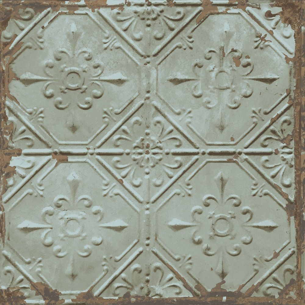 A street prints tin tile wallpaper this industrial reclaimed tin a street prints tin tile wallpaper this industrial reclaimed tin tile effect wallpaper features a dailygadgetfo Image collections