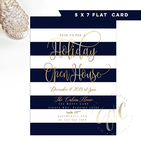 Holiday Christmas Party invitation Navy blue Open House Gibb + Co