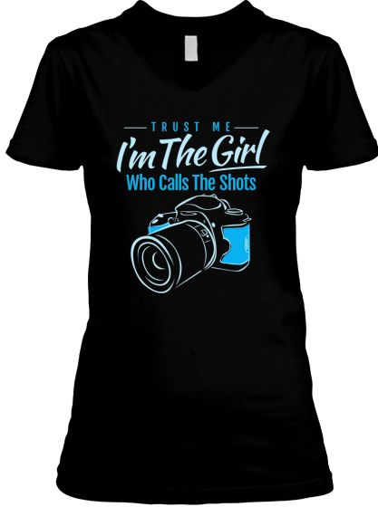 The Girl Who Calls The Shots... Womens Fitted v-neck in black $24.95