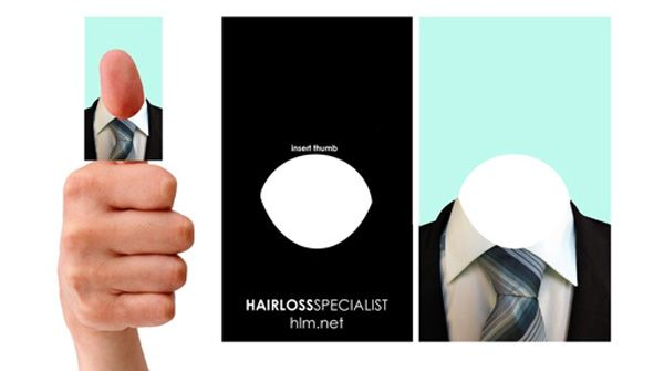 Very funny interactive business card for hairloss specialist - designed by Sam Roberts, Wales