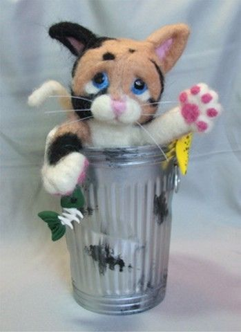 Needle Felted Garbage Can Cat by Laurie Valko