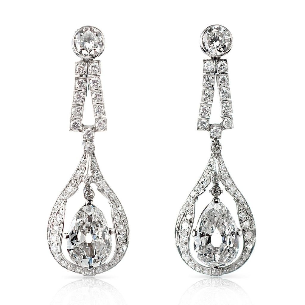 Pair Of Diamond Drop Earrings Set In Platinum, With Two Pearshaped Diamond  Drops
