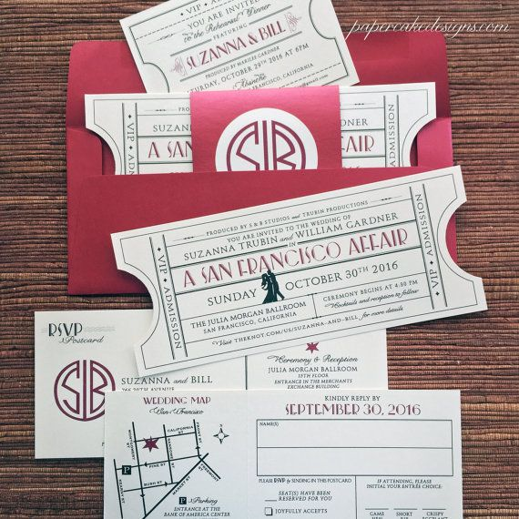 When Do I Send Out Wedding Invitations: Vintage Ticket Wedding Invitation Suite / Cinema Film