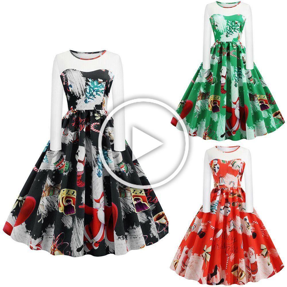 damen weihnachten printed kleid minikleid swing partykleid