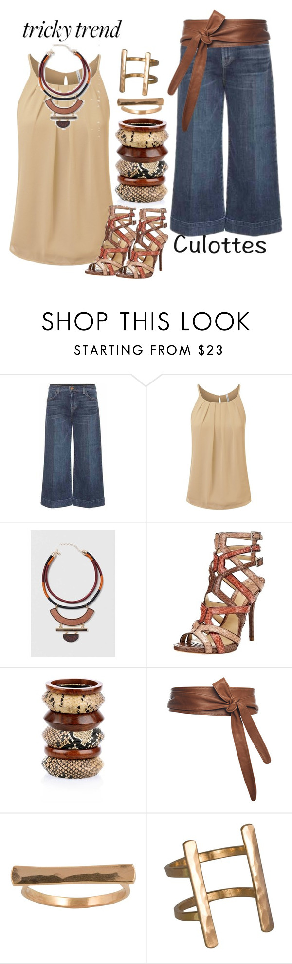 """""""Denim Culottes"""" by hope-houston ❤ liked on Polyvore featuring J Brand, Topshop, B Brian Atwood, River Island, Baukjen, IJA, TrickyTrend and culottes"""