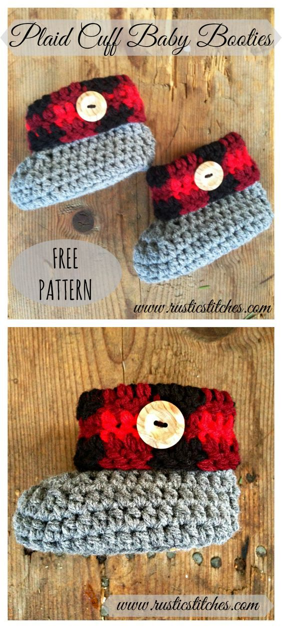 Free Pattern Plaid Cuff Baby Booties Size Newborn To 3 Months