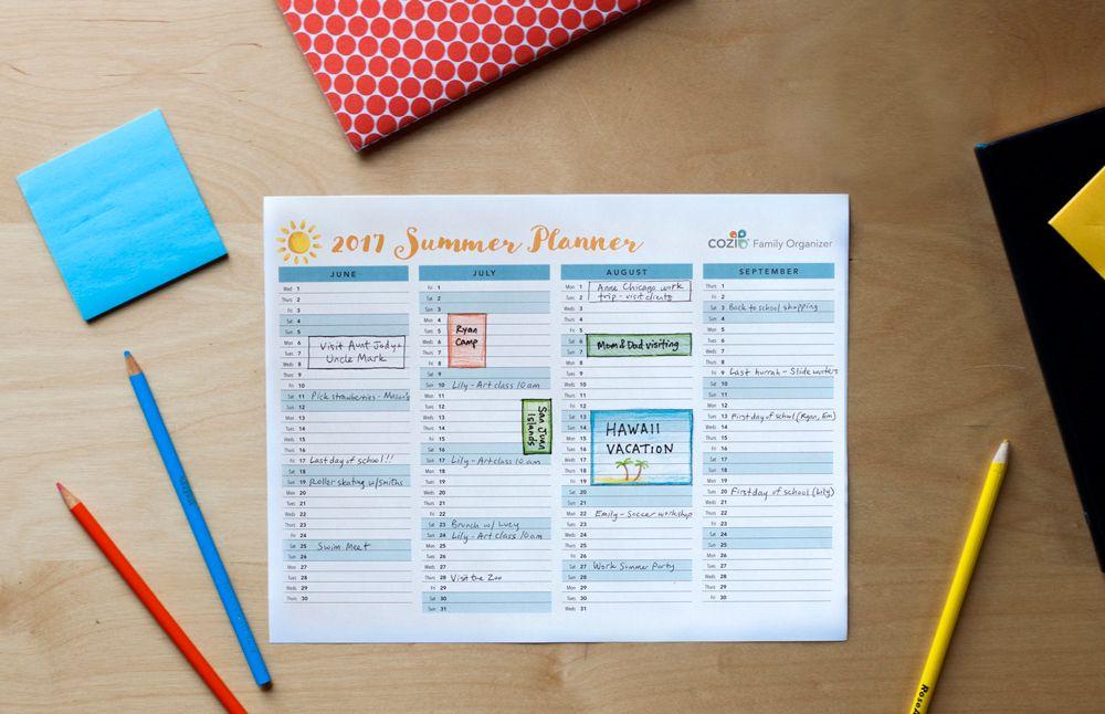 free printable summer planning calendar Helpful Hints Pinterest