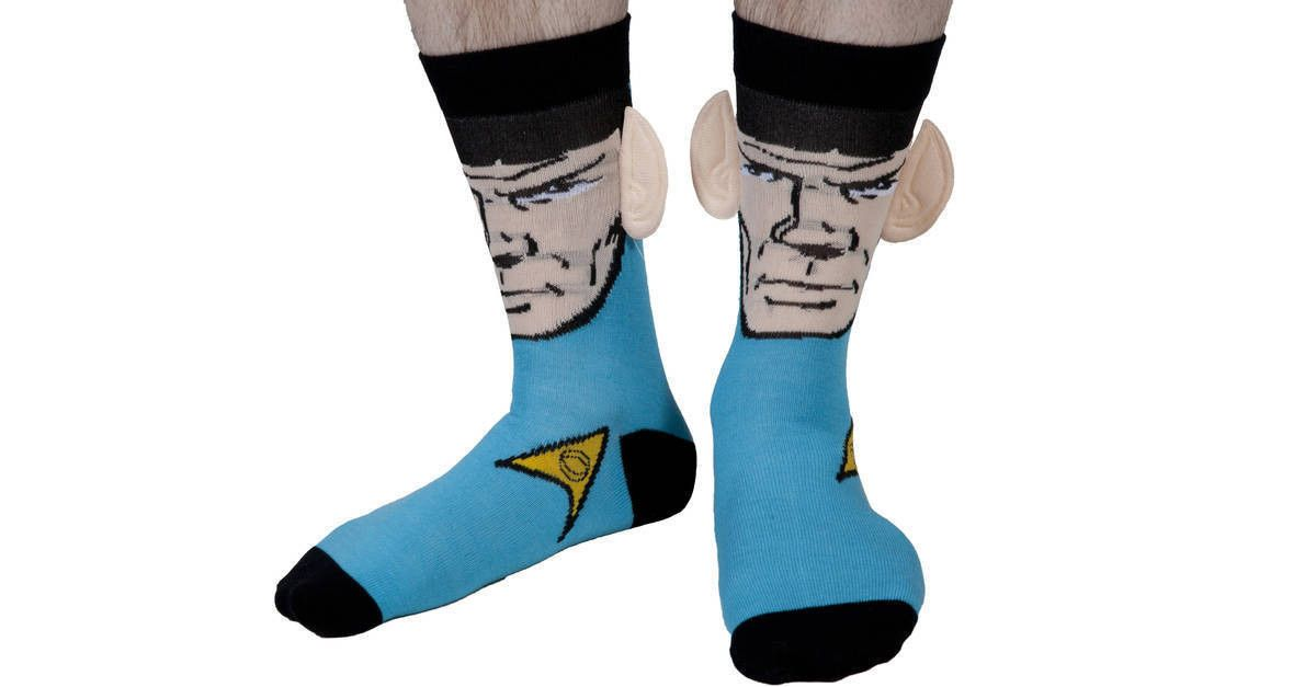 Spock Crew Socks With Ears made by Bioworld in collections: 80s Movies: Star Trek, & Department: Adult, & Color: Light Blue