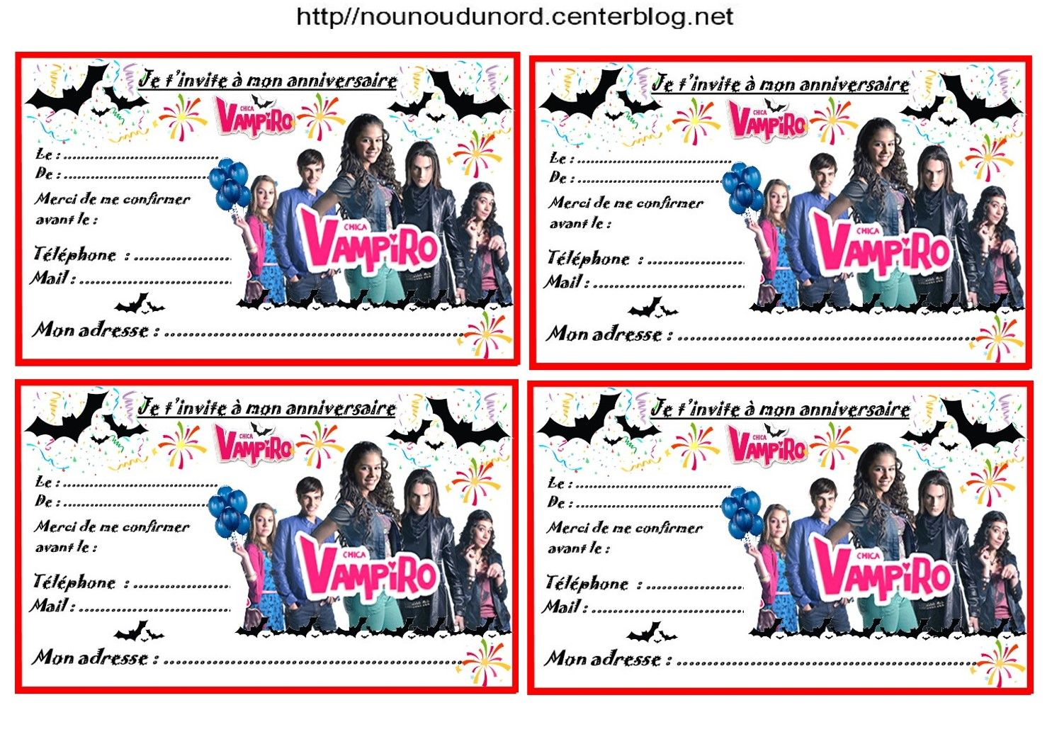 20d001bf9810a Etiquettes et invitations CHICA VAMPIRO pour anniversaire