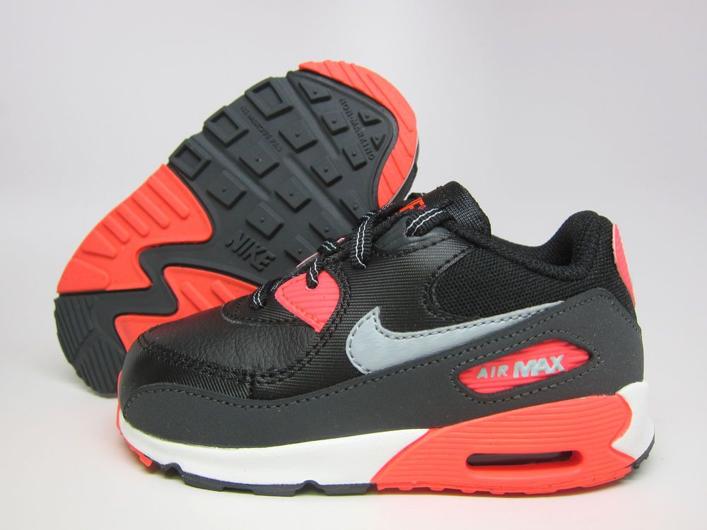750380f81d98 NEW NIKE BABY AIR MAX 90 TD TODDLERS 408110-080 BLACK WOLF GREY-ATOMIC RED   Nike  Athletic