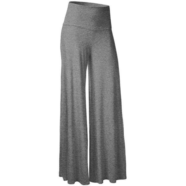 Womens Stylish Plain Wide Leg Palazzo Pants Gray (€10) ❤ liked on Polyvore featuring pants, grey, wide leg pants, wide leg palazzo pants, grey pants, gray trousers and grey palazzo pants