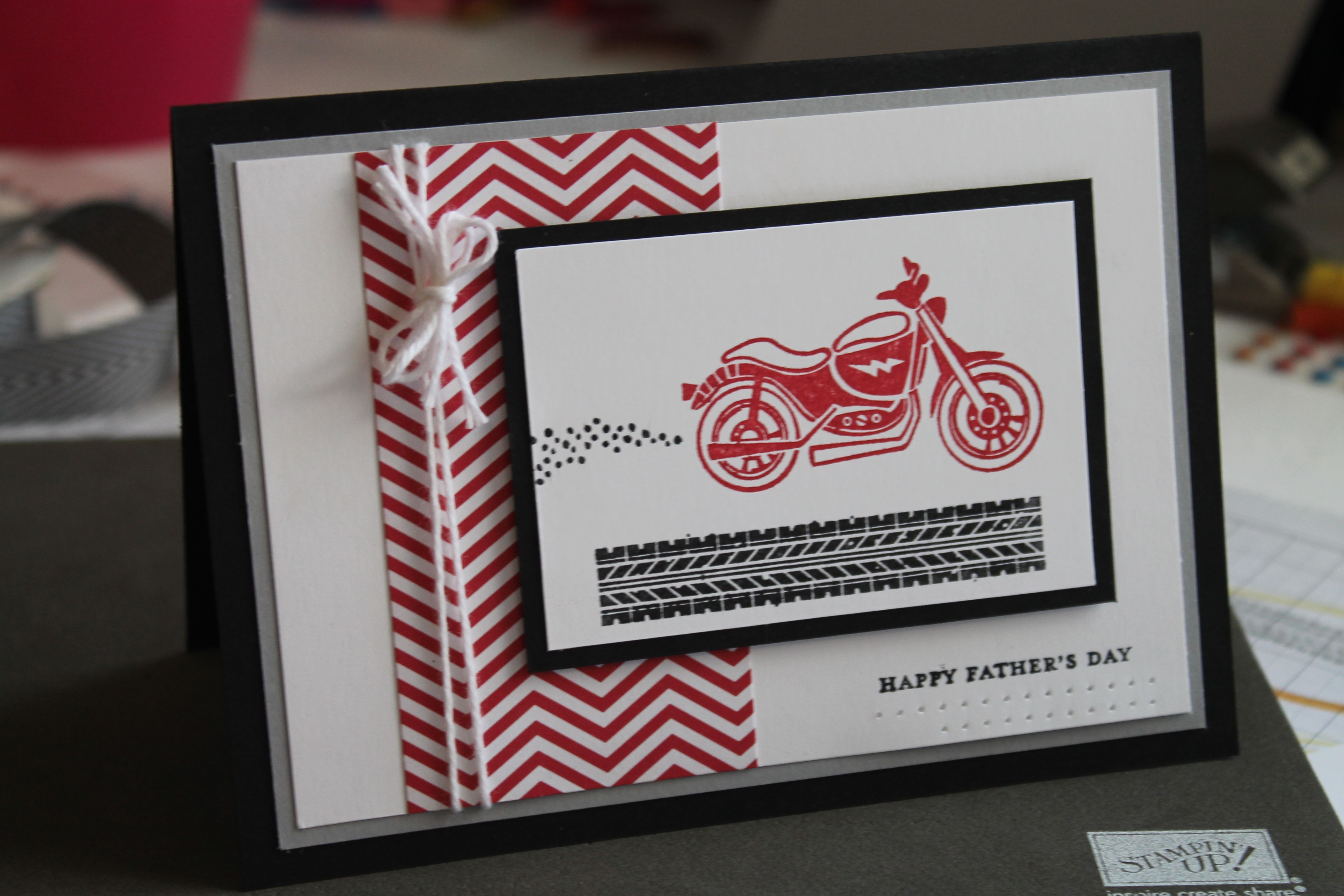 Stampin Up Rev Up The Fun With Chevron Fathers Day Card For Dad