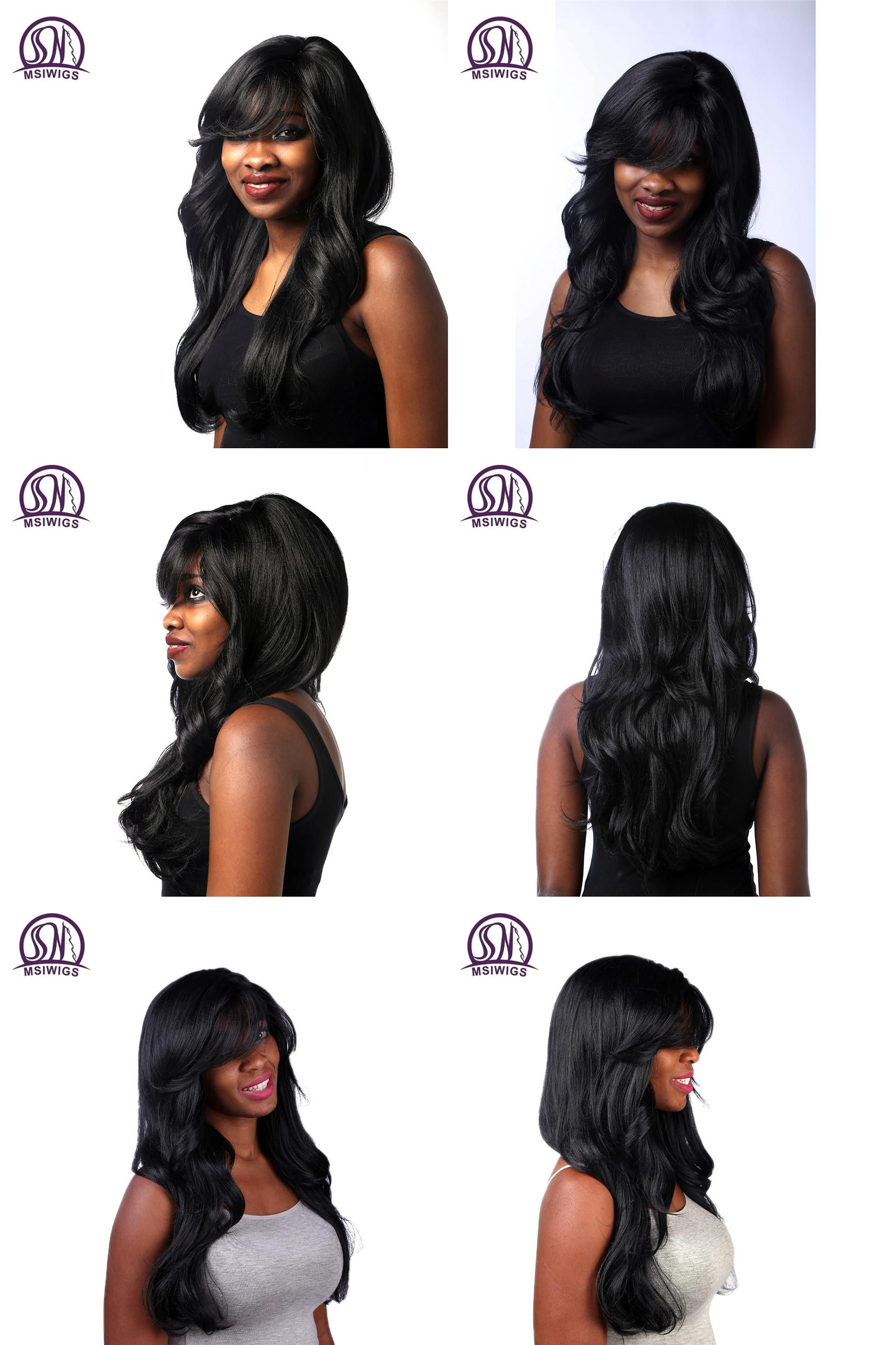 Visit to buy msiwigs synthetic hair long wavy black wigs with bangs