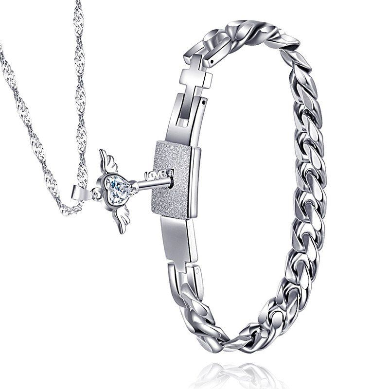 Romantic lover bracelet unlock by wing necklace, bracelet made of titanium steel.