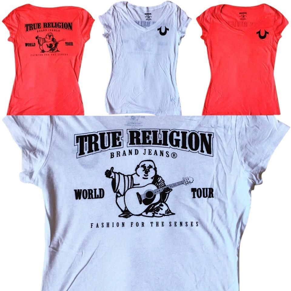 NEW TRUE RELIGION SALE Women Red or White V Neck Flock Soft T Shirt  XS f22bf72943