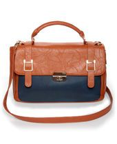 Time After Time Navy Blue and Tan Handbag