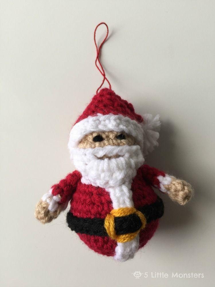 Crocheted Santa Ornament Häkeln Weihnachten Pinterest Häkeln