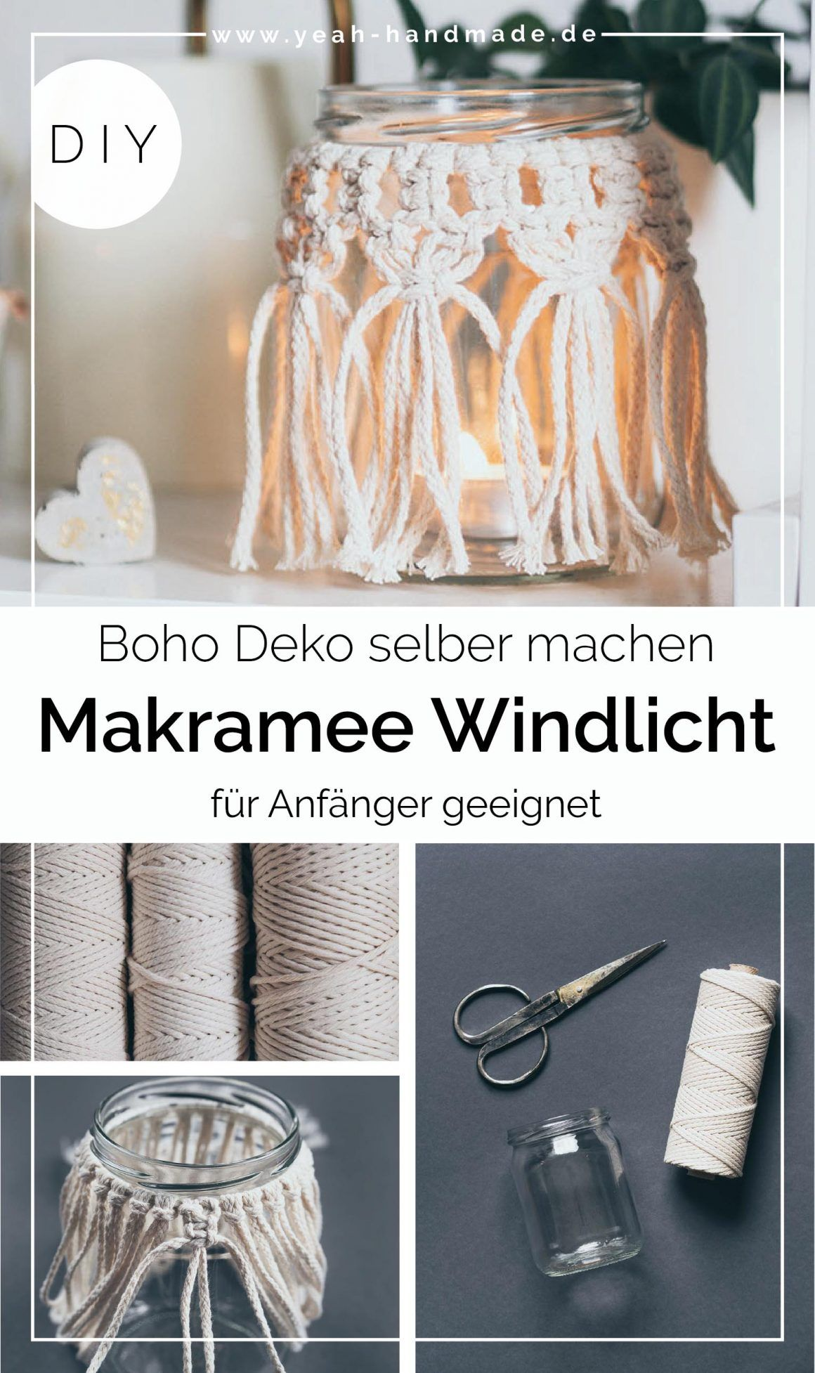 DIY Makramee Windlicht selber machen