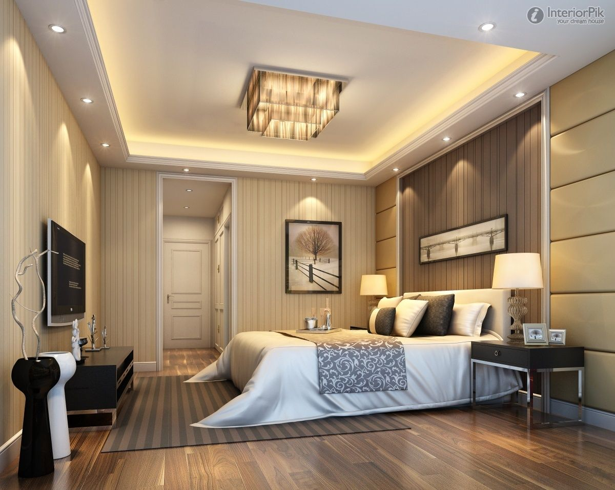 Simple bedroom ceiling lights - Modern Master Bedroom Design Ideas With Luxury Lamps White Bed Wall Design With Slim Tv