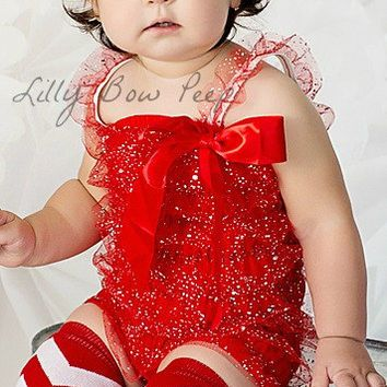 199b0c700621 Red Glitter Lace Petti Romper-Baby Girl Clothes-Christmas Outfit-Preemie- Newborn