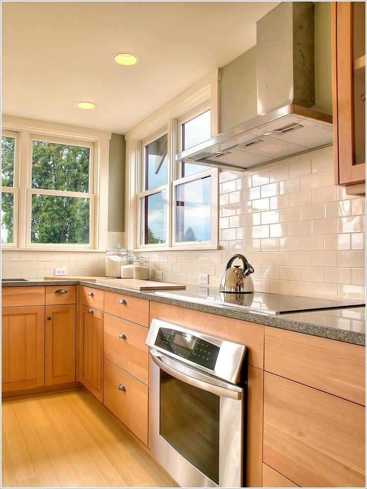 Kitchen Traditional Seattle backsplash green hardwood ... on Backsplash Ideas For Maple Cabinets  id=48299