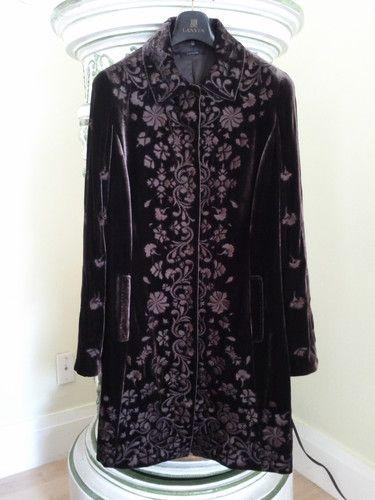 95644bf6a Elie Tahari Embroidered Silk Velvet Coat Size Small   eBay   a la ...