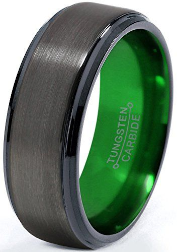 Tungsten Wedding Band Ring 8mm for Men Women Green Black Gunmetal