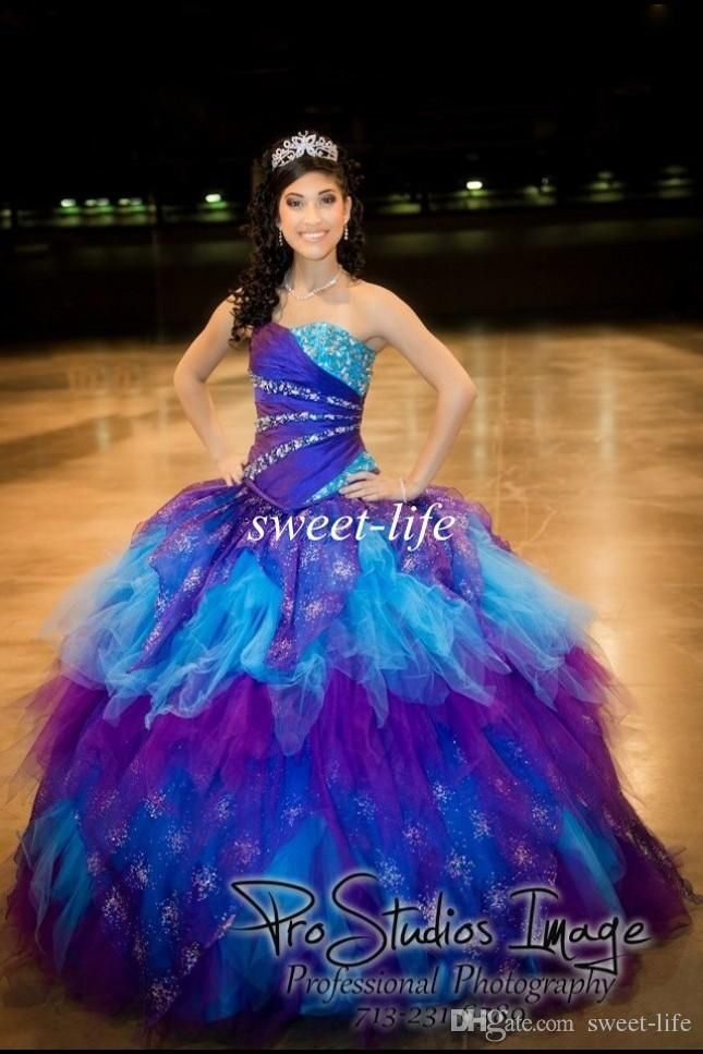 2015 Ball Gown Ombre Quinceanera Dresses Puffy Sequins Beaded Cascading Ruffles Colorful Tulle Custom Sweet 16 Party Dress Girls Prom Gowns Online with $136.84/Piece on Sweet-life's Store | DHgate.com
