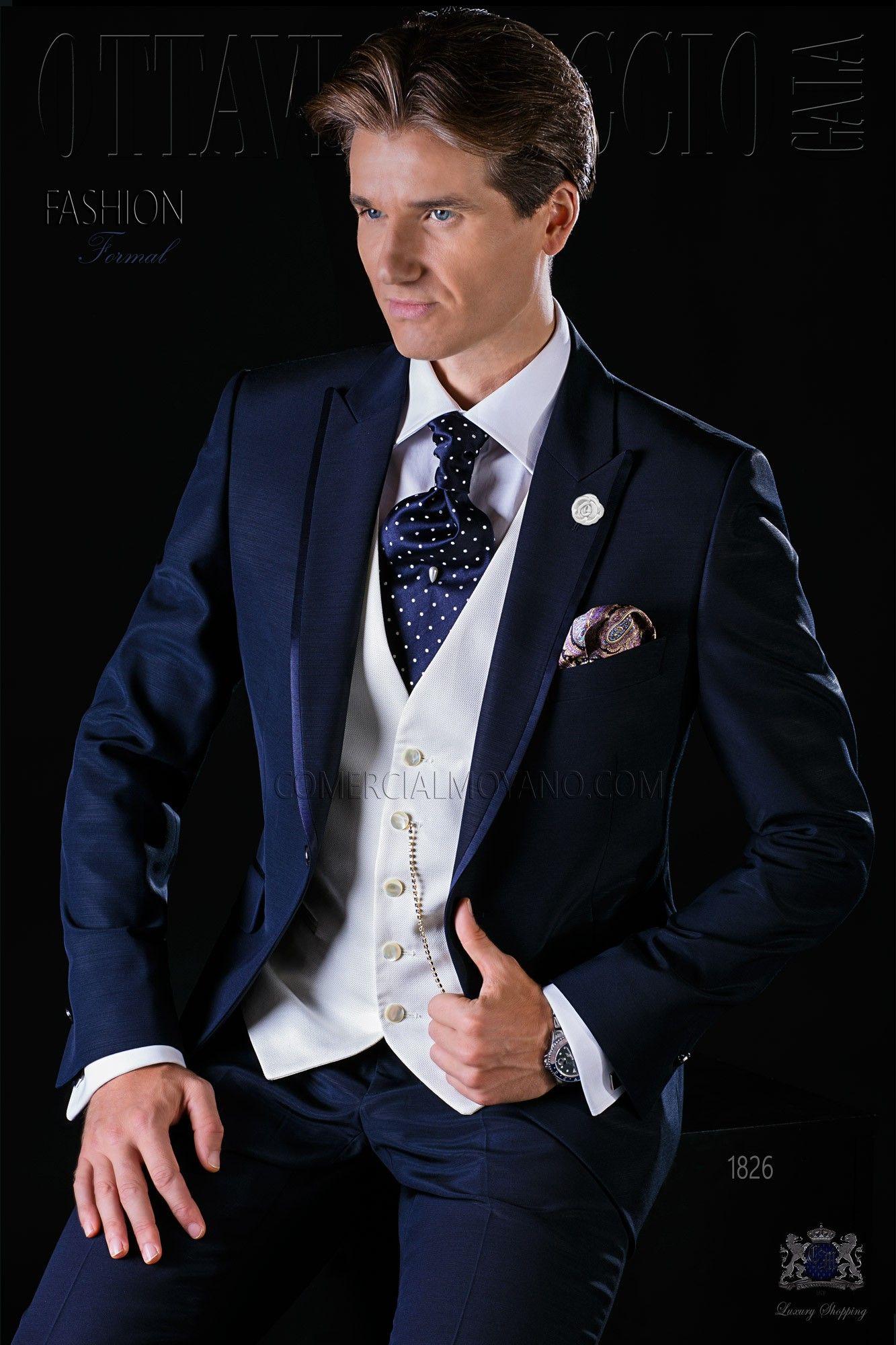 italienisch blaue br utigam anzug mit steigendes revers satin kontrast und 1 knopf aus. Black Bedroom Furniture Sets. Home Design Ideas